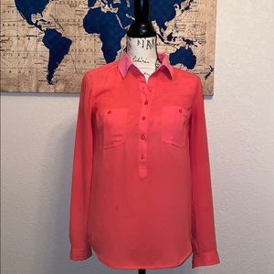 Loft Ann Taylor Coral Pink Sheer Collared Top